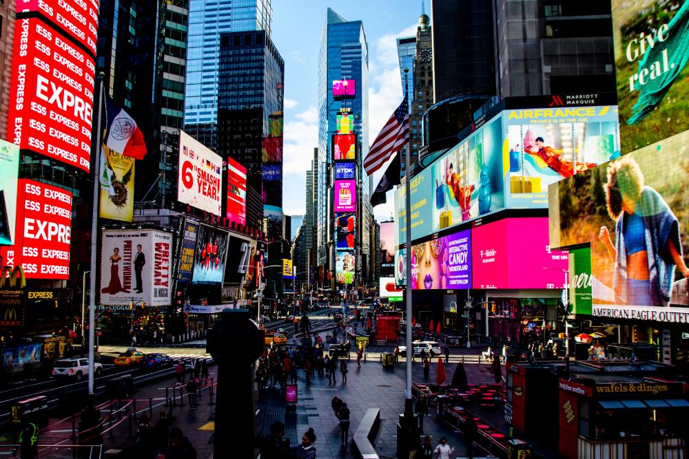 times square nueva york, gente, edificios, colores